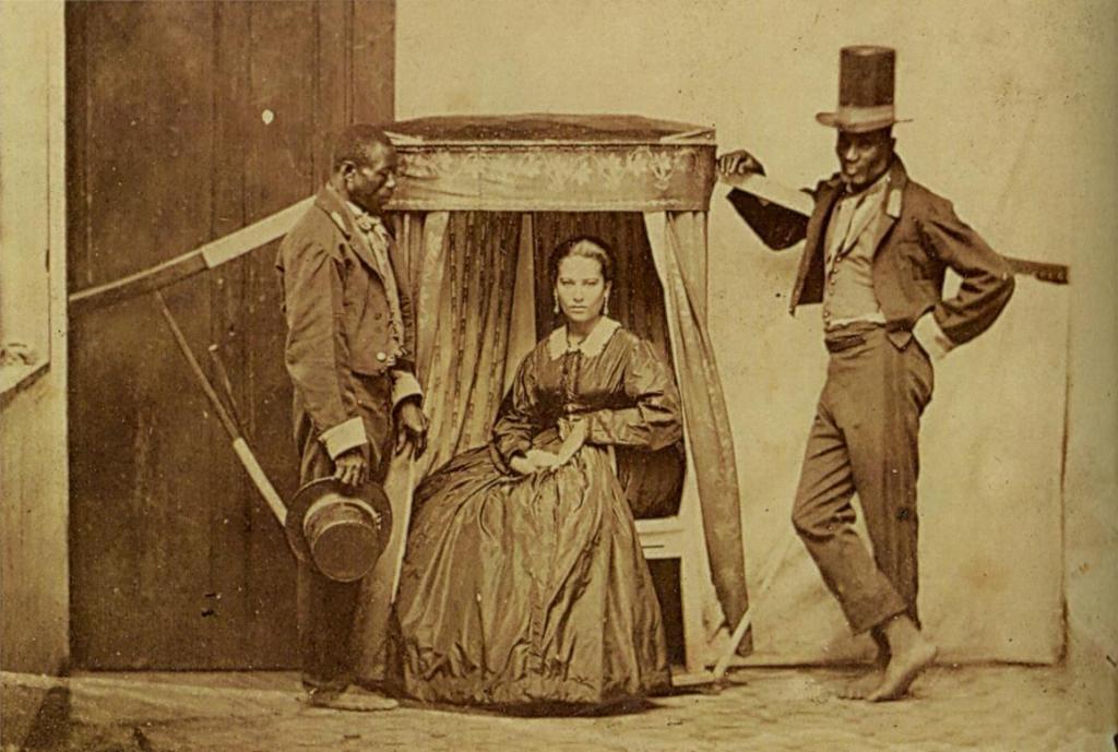 Senhora-sendo-carregada-por-seus-escravos-Brasil-1860