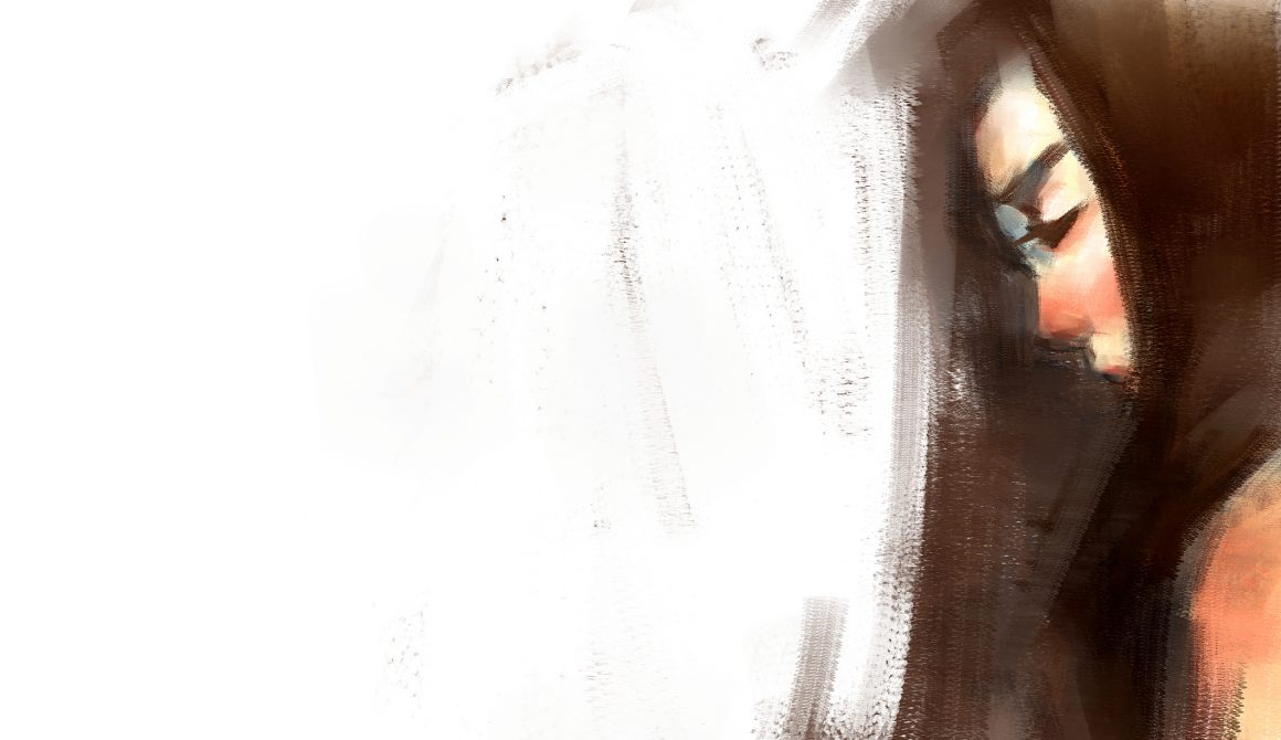 digital art painting of girl portrait with blank space canvas, acrylic on canvas texture