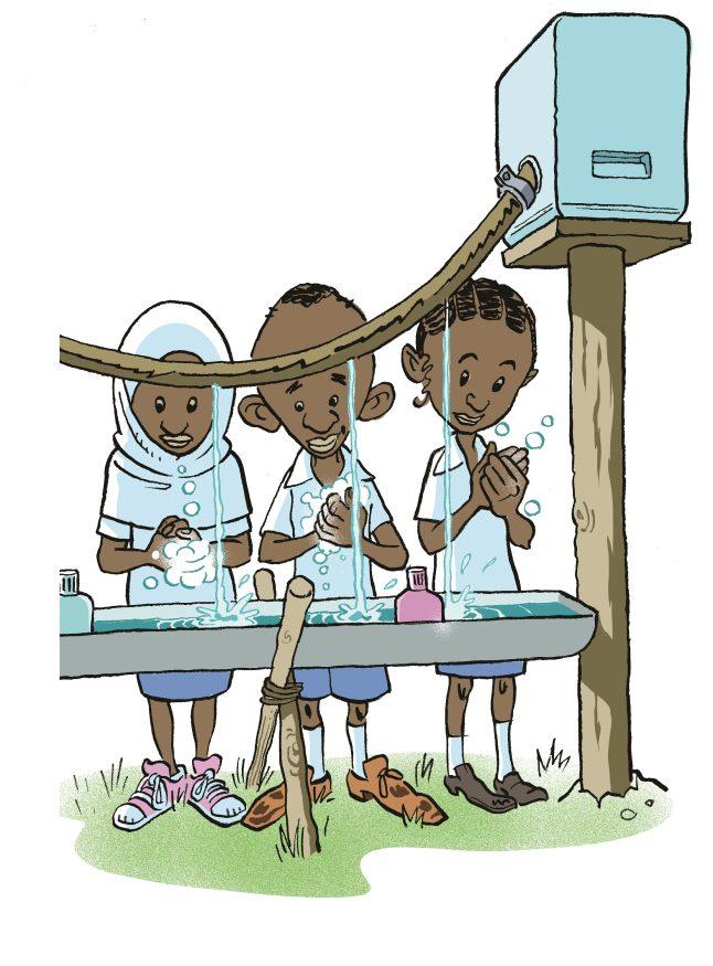 i kø ved håndvasken