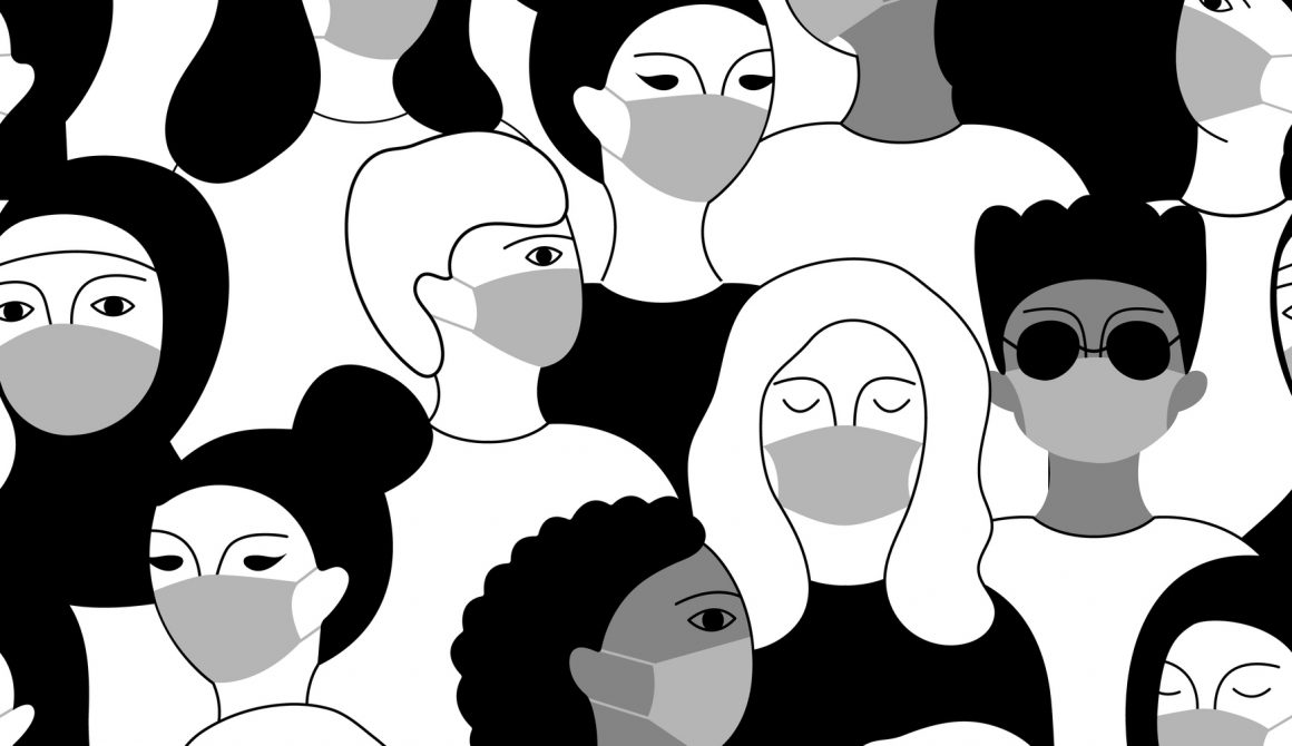 Multicultural group of people in medical face masks. Vector hand-drawn illustration.