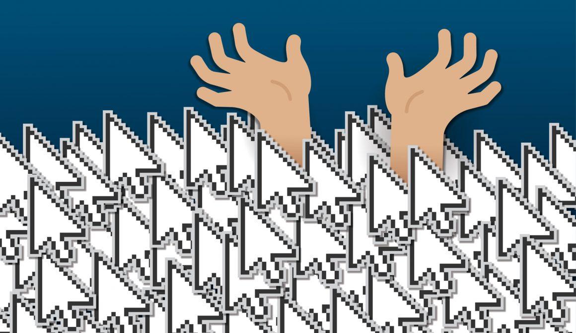 Clickbait Mouse Clicks Online Link Cursors Drowning Hands