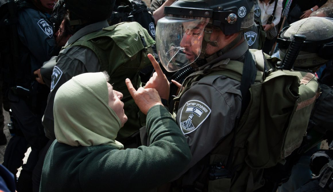 Palestinian woman confronts Israeli soldier