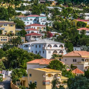 Colorful Hillside Homes in Oyster Bay, St Martin