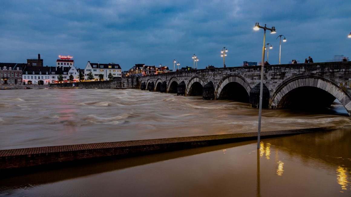 long night exposure of the floods in downtown Maastricht and the historical centre next to the Meuse